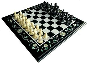 Marble Chess Cum Coffee Table Top with Gemstone Work at Border 16 x 16 Inches