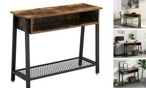 Industrial Sofa Table, Console Table with Mesh Shelf and Storage Rack,