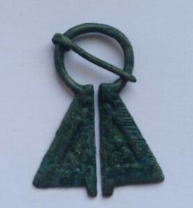 RARE ANCIENT BALTIC VIKING BRONZE PENANNULAR OMEGA BROOCH 900-1100 AD
