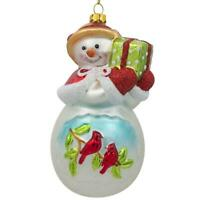 Snowman with Red Cardinals Holding a Gift Glass Christmas Ornament 5 Inches