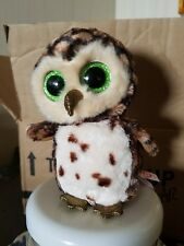 "TY Sammy Spotted Owl Original 8"" tall green eyes gold beak"