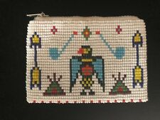Vintage Native American Indian Seed Beaded Coin Purse White w/ Eagle & Arrows TP