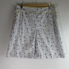 L.L.Bean Nautical Anchor White Navy Yellow Skirt Women's Size 10 Petite EUC