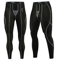 Mens Compression Tights / Trousers Running Base Layer Pants Leggings BLACK