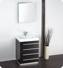 "Fresca Livello 24"" Black Modern Bathroom Vanity w/Glass Medicine Cabinet, Faucet"