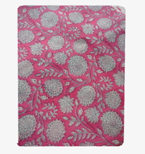 Indian 5 Yard Hand Block Print Running Craft 100% Cotton Sanganeri Women Fabric