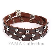 Quality FAMA Brown Leather Wrap Bracelet Lined with Stainless Steel Studs