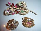 VTG JULIANA RED AB RHINESTONE BROOCH PIN EARRING SET DEMI PARURE