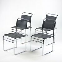 Set of 4 Marcel Breuer B5 Dining Chairs Chrome Leather Bauhaus Tecta Thonet