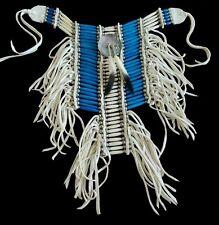 Blue & White Buffalo Bone 21 row Blue & White Breastplate Choker