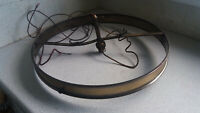 VINTAGE / ANTIQUE BRASS WHEEL SHAPED CHANDELIER CEILING LIGHT - NEEDS REWIRED