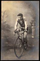 CYCLIST EARLY RACE BIKE TRANSPORTATION HISTORY SPORT ANTIQUE PHOTO RPPC POSTCARD