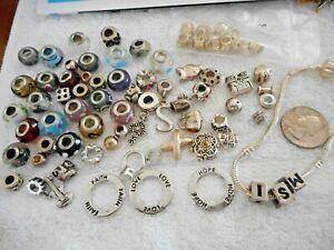 Big Lot of SLIDE CHARMS Art Glass Spacers Novelty + Slide Bracelet
