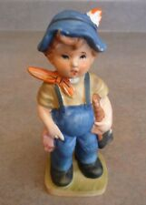Vintage Porcelain Figurine Boy Holding Axe Wearing Blue Overalls Scarf and Hat
