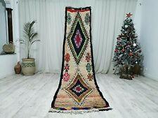Moroccan Handmade Boujaad Runner Rug 2'6x11'3 Vintage Faded Red Floral Wool Rug