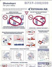 Safety Card - Estonian Air - B737 300 500 - 2008  (S2876)