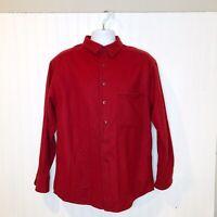 Vintage Ibex Merino Wool Button Down Shirt Red Large Long Sleeve Warm Winter