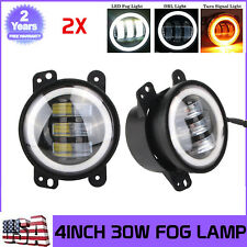 "2x 4""Inch 30W Cree Led Fog Light & Halo Angle Eyes for 07-16 Jeep Wrangler Dodge"