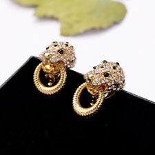 Boucles d'Oreilles Clips Pince Leopard Anneau Noir Retro Original Soirée J4