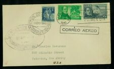 1Cuba 1939 Airmail Cover Havana to Paterson, Nj franked Scott C34, C35, & Ra3
