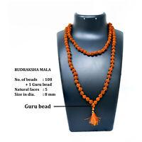 5 Mukhi Rudraksha rudraksh Mala 8MM rosary mala 108+1 beads Shiva Japa Mala_1pic
