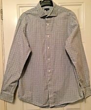 "Mens Jaeger White Blue Green Check Long Sleeve Shirt Size 16"" B22"