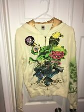 """Ed Hardy By Christian Audigier """"Death Or Glory"""" Zip Front Hoodie Beige Rare Sz M"""