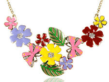 Butterfly Flower Bouquet Leaf Genuine Crystal Rhines Fashion Necklace Pendant
