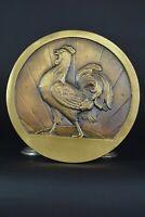 Grande plaque ancienne en Bronze Animalier Coq chantant signé P. ROQUES Chicken