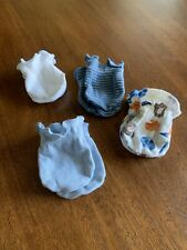 Lot Of 4 Pairs Boy Baby Mittens Mitts Blue White Sports Theme