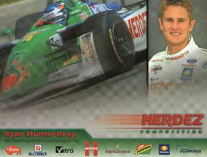 Ryan Hunter-Reay #4 Herdez Racing Authetic 8 1/2 x 11 Promo Drivers Card