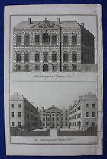 Original antique print LONDON, THE TREASURY, THE ADMIRALTY, Cole, Maitland, 1756