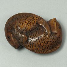 "1940's Japanese handmade Boxwood Netsuke ""TWO CARP FISH"" Figurine Carving"