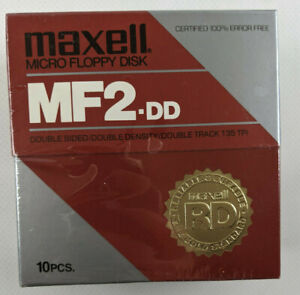 """NEW Maxell 3.5"""" MF2-DD Micro Floppy Disks 10 Pack Sealed Double Sided Density"""