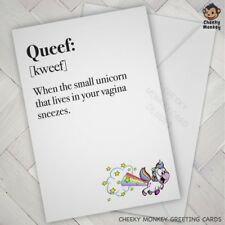 Funny VALENTINE Birthday ANNIVERSARY CARD rude Naughty QUEEF adult sexy female
