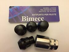 M14X1.5 BLACK BIMECC ALLOY WHEELS LOCKING NUTS FIT LAND RANGE ROVER SEE LIST