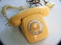 Vintage Cream  Retro Telecom Plastic Rotary Dial Telephones  1960s/70s Decor