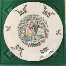"1977 Royal Doulton ""Ice Skating on Pond"" Christmas Collector Plate 1st in Series"