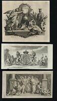 Allegory Allegorical prints 1751 lot x 4 cherubs angels unicorn goddesses lion