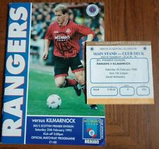 More details for glasgow rangers v kilmarnock spl 1995 match programme and used ticket good condi