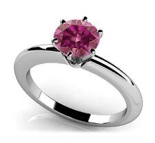 Fancy Pink Diamond 0.75 Cts 6 Prong 14k WG Ring HpHt Vs2 Valentine Day Spl.Sale