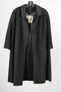 Vintage Imperial Black 100% Imported Cashmere Women's 3/4 Sleeve Open Overcoat