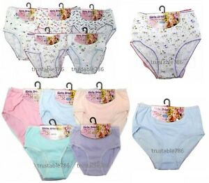 3 X Pairs of Kids Girls Soft Comfy 100% Cotton Briefs Knicker Pants