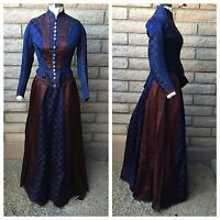 3-Pc Victorian Dress Boned Bodice Skirt Rear Apron Navy Blue Maroon Circles 1880