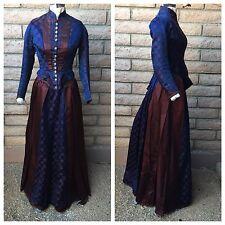 3-Pc Victorian Dress Boned Bodice Skirt Rear Apron Navy Blue Maroon Circles 1880