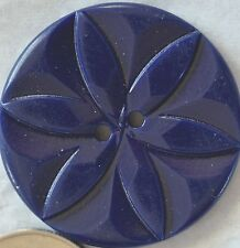 "6 DARK NAVY BLUE PLASTIC CASEIN BUTTON ""STAR FLOWER"" 1 1/8"" QUANTITY DISCOUNT"