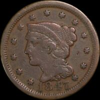 1847 Braided Hair Large Cent, Collectors Coin