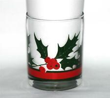 7 VTG Libbey Red Berries & Holly DOF Lowball Banded Glass Tumblers Colorful EXC