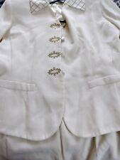 Kasper, 2 Piece Crepe Skirt Suit Cream, Gold Trim, Detachable Collar Cuffs Sz 6