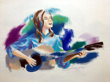 Peter Schofield, Listed Artist, Original Coated Pastel - Young Girl with Guitar